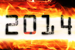 Figures 2014. On a fiery background Royalty Free Stock Photography