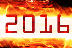 Figures 2016 on a fiery background,. 2D image stock illustration