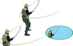 Figures of fishermen in various fishing positions royalty free illustration