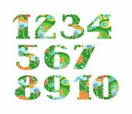 Figures, floral decor, summer, green, vector. Stock Images