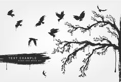 Figures of flying birds, trees in grunge style. Colors Royalty Free Stock Photo