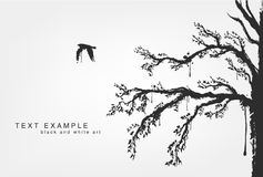 Figures of flying birds, trees in grunge style. Colors Stock Photography