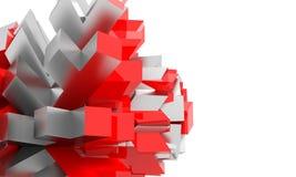 Figures géométriques argentées rouges et mates abstraites sur la conception blanche de fond de présentation de l'espace illustration stock
