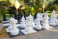 Figures for game in chess on the nature Stock Photo