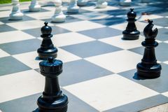 Figures for game in chess on the nature. royalty free stock photos