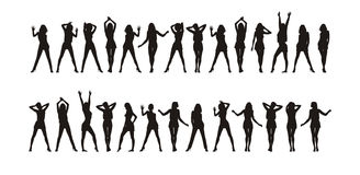 Figures of girls 3. Composition from twenty seven female silhouettes. All figures are dressed in summer clothes. At each figure the movement Royalty Free Stock Photos