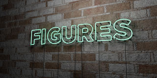 FIGURES - Glowing Neon Sign on stonework wall - 3D rendered royalty free stock illustration. Can be used for online banner ads and direct mailers Stock Image