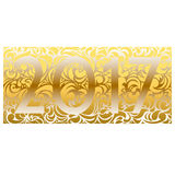 2017 figures on a gold background Khokhloma. In 2017 on a gold background Khokhloma pattern gradient effect stock illustration