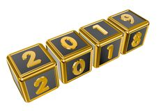 Figures 2018 and 2019 on gold cubes Stock Photography