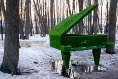 Figures from the grass. Piano covered with green grass in a puddle. royalty free stock images