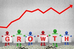 Figures holding growth text. Composite of figures holding growth text on money piles with upward graph background Stock Photos