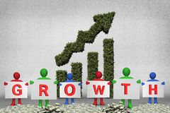Figures holding growth text. Composite of figures holding growth text on money piles with vegetative upward graph background Royalty Free Stock Images