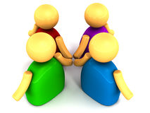 Figures holding hands. People figures in 3d holding hands in a group of 4, concept of partnership Stock Image