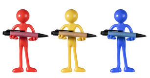 Figures Holding Pens Royalty Free Stock Image