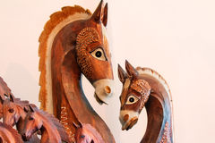 The figures of horses made of a tree. royalty free stock photos