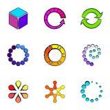 Figures icons set, cartoon style. Figures icons set. Cartoon illustration of 9 figures vector icons for web Royalty Free Stock Image