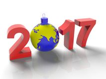 The figures in 2017, with the image of the ground like a toy for  Christmas tree, in the form  the planet Earth, on Royalty Free Stock Images