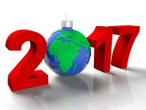 The figures in 2017, with the image of the ground like a toy for Christmas tree, in the form the planet Earth, on white Royalty Free Stock Photography