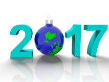 The figures in 2017, with the image of the ground like a toy for  Christmas tree, in the form  the planet Earth, on  white backgro Stock Images