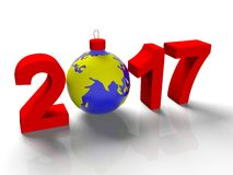 The figures in 2017, with the image of the ground like a toy for  Christmas tree, in the form  the planet Earth, on  white backgro Stock Photos