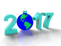 The figures in 2017, with the image of the ground like a toy for  Christmas tree, in the form  the planet Earth, on  white backgro Royalty Free Stock Photo