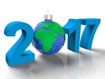 The figures in 2017, with the image of the ground like a toy for Christmas tree, in the form the planet Earth, on white background. The figures in 2017, with the Stock Photos