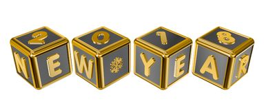 Figures 2018 and the inscription New Year on gold cubes Royalty Free Stock Image