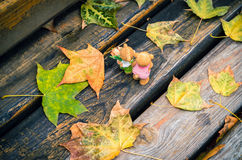Figures of love couple on autumn background. Couple of love teddies on rustic fall background Royalty Free Stock Photos