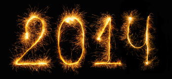 2014 - figures made of sparklers royalty free stock image