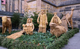 Figures made of straw on a Christmas theme Stock Photography