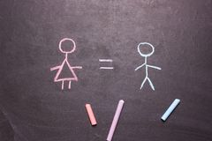 Figures of a man and a woman .The concept of equality, feminism. Figures of a man and a woman are drawn chalk on a blackboard. The concept of equality, feminism royalty free stock photo