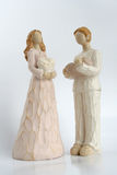 Figures of the man and women. Figures of the man with the book and women with heart royalty free stock photo