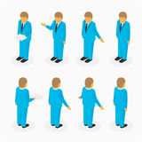 Figures of men in suits. Business people isometric 3d vector figures. Set of man. Vector illustration Stock Photo