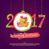 Figures 2017 and Merry Christmas on dark background. Figures 2017 and the words Merry Christmas on a dark background. Vector illustration of gifts. New year Royalty Free Stock Photos