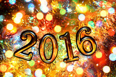 Figures 2016 (new year ,Christmas) in bright lights Royalty Free Stock Photography