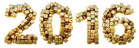 Figures. New 2016 year from the golden dice.  on white Stock Image