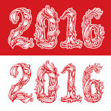 The figures 2016 New Year. illustration vector  numbers. The figures  2016 New Year. Festive red color illustration vector calligraphic lettering numbers for Royalty Free Stock Image