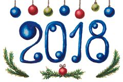 Figures of New Year`s figures 2018 in blue, balls and spruce bra Stock Photo