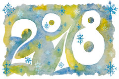 Figures for the new year with snowflakes painted in watercolor. Figures 2018 for the new year with snowflakes painted in watercolor Royalty Free Stock Photo