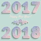 Figures number 2017 and 2018 year with a floral pattern of pink and blue Royalty Free Stock Photo
