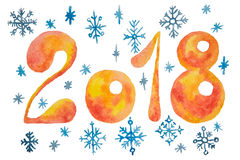 Figures of orange color for the new year with blue snowflakes painted in watercolor Stock Photos
