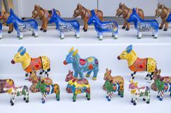 Figures of painted donkeys souvenirs from Santorini stock photos