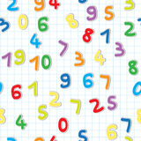 Figures pattern. Funny figures stickers pattern, numbers over a lined math paper Stock Images