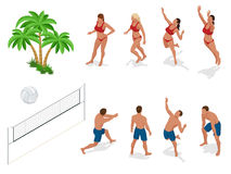 Figures of people when playing volleyball. Beach volley ball concept. Vector isometric illustration.  Royalty Free Stock Images