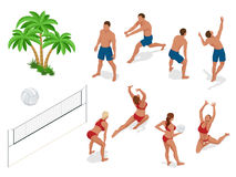 Figures of people when playing volleyball. Beach volley ball concept. Vector isometric illustration.  Stock Photography