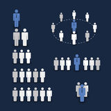 Figures & People's Icons. Blue Business and Team Work Concept in Freely Scalable & Editable Vector Format Royalty Free Stock Photography