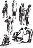 Figures of people. Separate groups of people in various situations. woman with children and communicating people. sketch of poses on paper Stock Image