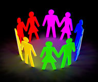 Figures of peoples arranged in the circle. Luminous figure of people pairs in a circle on a black background Stock Photography