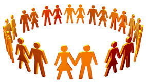 Figures of peoples arranged in the circle. Figures of men and women arranged in the circle on a white background Royalty Free Stock Image