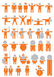Figures pictograms. Vector figures in different motions, positions, actions and movements Royalty Free Stock Photo